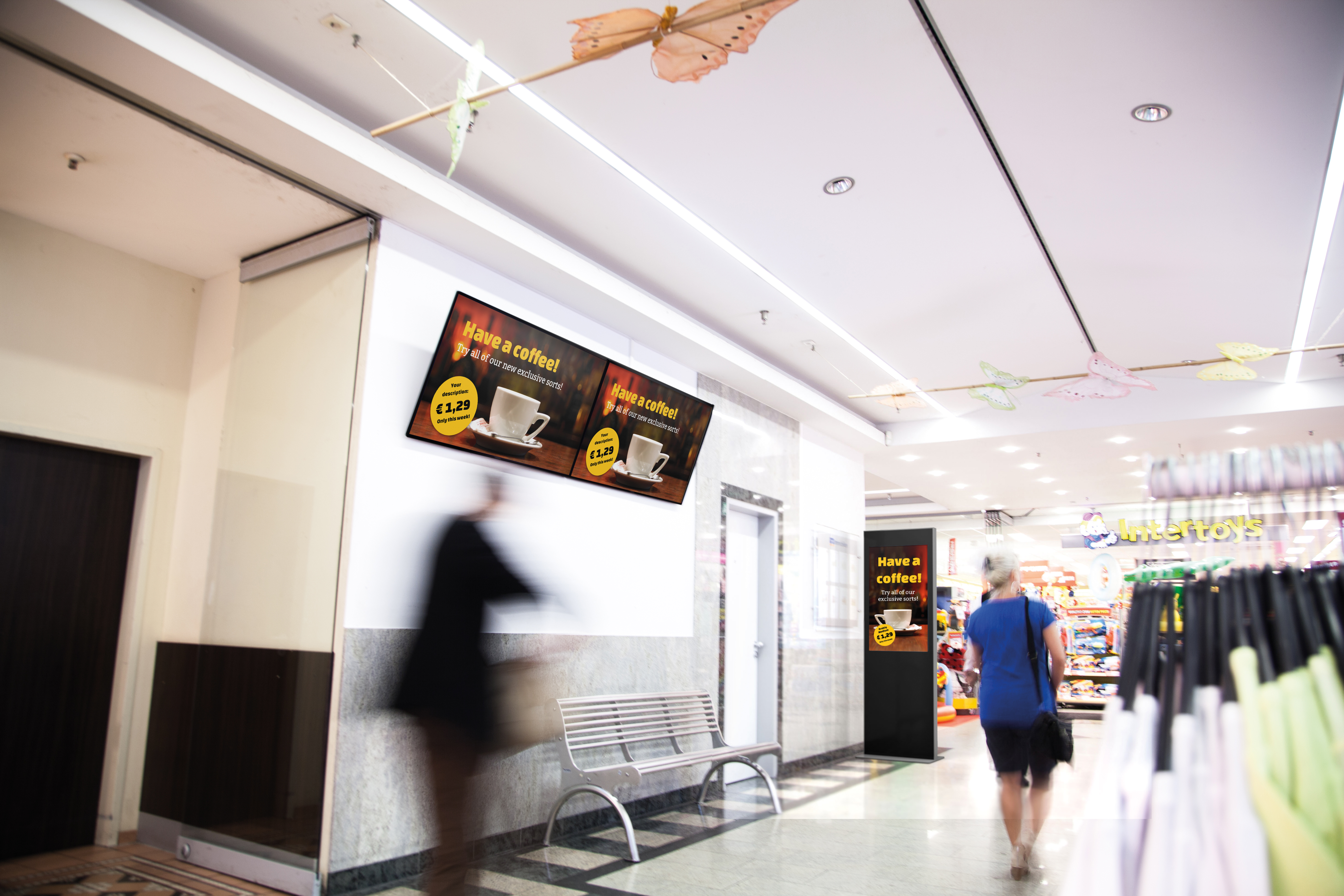 viewneo digital-signage-stele-viewneo-46-zoll-shopping-mall